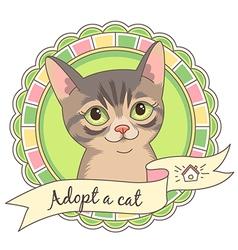 cartoon adopt cat vector image vector image