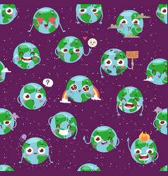 Cartoon globe with emotion web icons green global vector