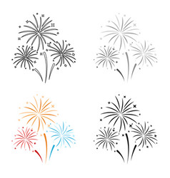 colorful fireworks icon in cartoon style isolated vector image vector image