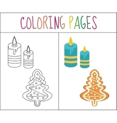 Coloring book page christmas gingerbread and vector