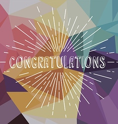 Congratulations greetings sunrays retro theme vector