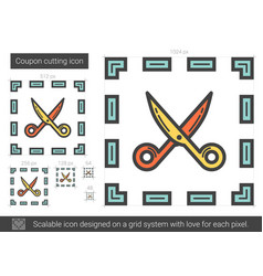 Coupon cutting line icon vector