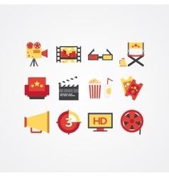 Creative movie and cinema icon set vector image