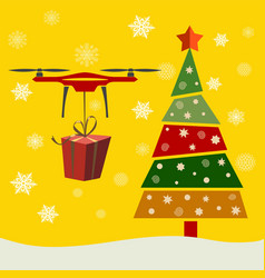 drone delivery presents under christmas tree new vector image