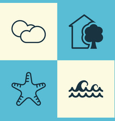 Eco icons set collection of house ocean wave vector