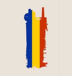 Factory icon and grunge brush romania flag vector