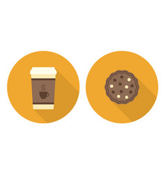 Flat set cup of coffee and cookie vector