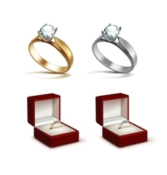 Gold and Silver Rings with Diamond in Jewelry box vector image