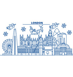 great britain london winter city skyline merry vector image