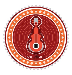 Guitar round label vector