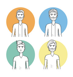 hand drawn set men face with hairstyle vector image