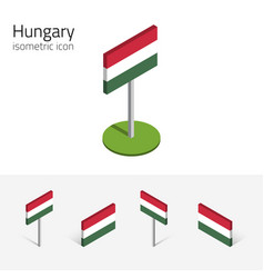 hungary flag set of 3d isometric icons vector image vector image