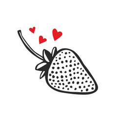 icon strawberry with hearts vector image