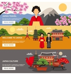 Japanese Culture 3 Horizontal Banners Set vector image vector image
