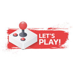 joystick gamepad on grunge background lets play vector image vector image