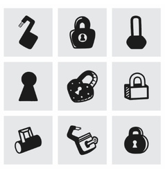 lock icon set vector image vector image