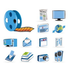 media and information icons vector image
