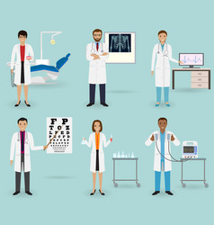medical treatment set with doctors of different vector image vector image