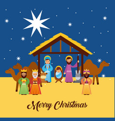 Merry christmas greetings with jesus born in vector