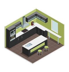Modern Kitchen Isometric View Image vector image vector image