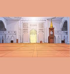 Nabawi mosque building interior muslim religion vector