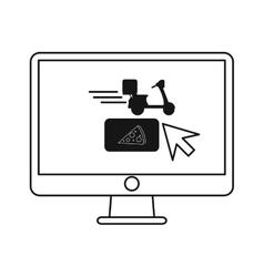 Ordering food online computer outline vector