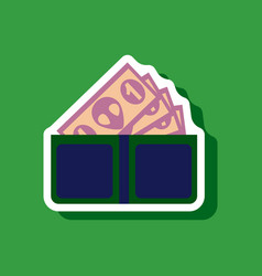 Paper sticker on stylish background money in a vector