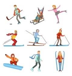 People Doing Winter Sports Set vector image vector image