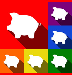 Pig money bank sign set of icons with vector