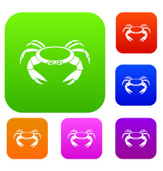 Raw crab set color collection vector