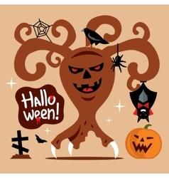 Scary halloween tree cartoon vector