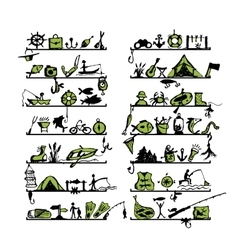 Shelves with fishing icons sketch for your design vector