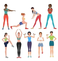 Sport fitness healthy girls set Women in vector image vector image