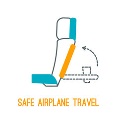 Thin line icons for airplane safety concept vector
