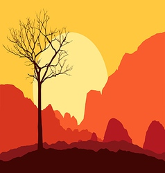 Tree dry landscape scene background vector