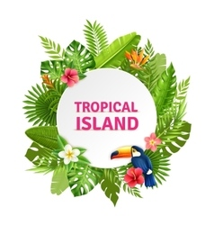 Tropical Island Flora And Toucan Frame vector image vector image