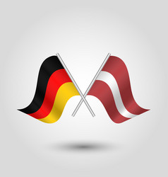 two crossed german and latvian flags vector image vector image