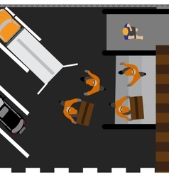 Unloading boxes in the store ar truck delivery vector