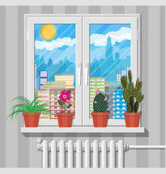 white window with flowers on wall city skyline vector image