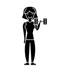 woman fitness with gym weights icon vector image vector image