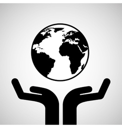 Silhouette hands environmentally friendly globe vector