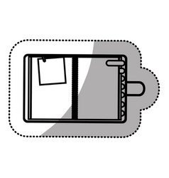 Monochrome sticker with notepad and page tab vector