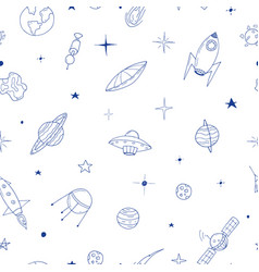 Seamless space pattern in doodle style vector