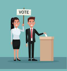 Background scene man in formal suit vote in urn vector