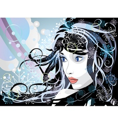 Abstract winter girl vector