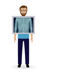 Adult man with x-ray chest vision radiography vector