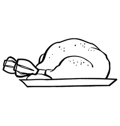 Cooked turkey cartoon vector