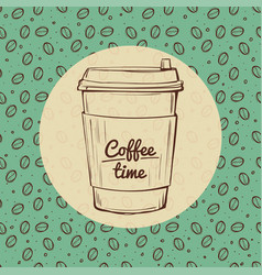 coffee time banner roasted beans background hand vector image