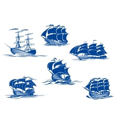 Blue tall ships or sailing ships vector image