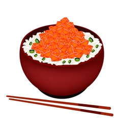 Bowl of boiled rice topping with chopped salmon vector